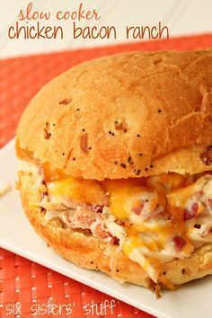 Slow Cooker Chicken Bacon Ranch Sandwich recipe from SixSistersStuff.com