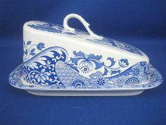 "Spode Blue Italian 7"" Rectangular Covered Cheese Dish Made in England | eBay"