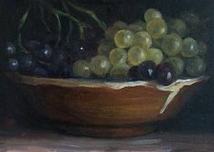 "A bowl of grapes 20cm x 14cm (8""x5½""), oil on gessoed card Daily painting for Wednesday 25 August, 2010"