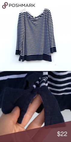 J.CREW Navy and White Top J.CREW navy blue and white long sleeved top, with small corner lots on each sides. J. Crew Tops Tees - Long Sleeve