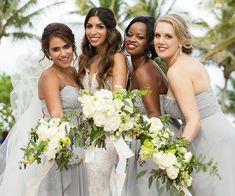 Long Grey Strapless Bridesmaids Dresses