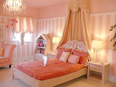 Kids Room Delightful Pink Girl Bedroom Design Ideas With Pink Stripe Bedroom Wall Along With Pink Bed Frame Narrow Pink Night Stand Fascinating Design For Girl Bedroom Decoration White Bedside Double Pendant Lamp Polkadot Pattern Marvelous Remodeling Kids Bedroom With Unique And Luxury Kids Furniture That Will Help To Inspiring You