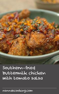 Southern-fried buttermilk chicken with tomato salsa        This is proper Saturday-night dinner territory - serve it on giant sharing plates so that all the family can dive in.