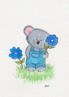 Children's watercolour room art Print 5 x 7 Happy Koala