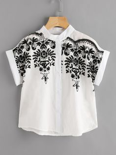 Stereo Embroidery Batwing Blouse