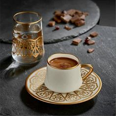 Sufi Turkish Coffee Set of 6 Seljuk Gold. I Love Coffee, Black Coffee, My Coffee, Coffee Mugs, Turkish Coffee Set, Turkish Tea, Iftar, Glass Tea Cups, Coffee Photography