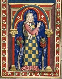 Yoland de Bretagne (Gaignières 141) -- Dessin d'un vitrail de N.-D. de Chartres [BNF Bouchot 141] -- «Yoland de Bretagne, fille de Pierre Mauclerc fut promise à Richard d'Angleterre, comte de Cornouaille puis accordée à Jean de France comte d'Anjou en 1227 & fut mariée en 1238 avec Hugues XI dit le Brun sire de Lezignen comte de la Marche & d'Engoulesme. Elle mourut à Bouteville, le X. octobre 1272, laissant postérité.»