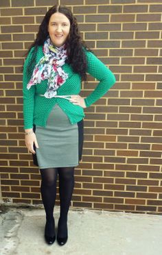 Just Another Smith: winter layers, green polka dot cardigan, floral scarf, silver belt, gray/black dress, black Sylvia wedges