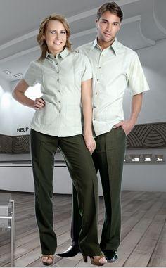 Uniforme mixto en colores verde y verde claro de dos piezas con pantalón y camisa de manga corta http://www.creacionesred.com.mx/