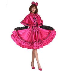 Sissy Maid 5 Pieces Rose Red Dress Vintage Crossdressing Cosply Costume