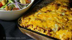 Layered Baked Spaghetti Baked Spaghetti, Spaghetti Recipes, Pasta Recipes, Dinner Recipes, Mexican Spaghetti, Spaghetti Casserole, Casserole Recipes, Sausage Recipes, Beef Recipes