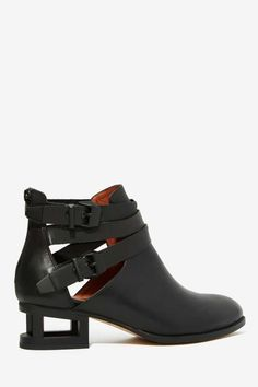 Jeffrey Campbell Everly Cutout Boot - Matte Black - Shoes | Flats | Ankle | Jeffrey Campbell