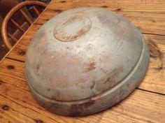 """Antique wood dough bowl original blue paint 18"""" primitive huge AAFA"""