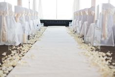 The aisle will have a white carpet runner lined with ivory rose petals Italy Wedding, Our Wedding, Wedding Ideas, Wedding Inspiration, Crystal Candelabra, Stock Flower, Japanese Wedding, Hanging Crystals, White Carpet