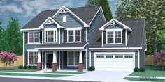 """House Plan 2304-A The CARVER elevation """"A"""". Traditional two-story plan. Two-story foyer and open living space on first floor. Lots of space and three large bedrooms upstairs featuring a large Master Suite with walk-in closet. Drop Zone at back door. Huge Optional Bonus Room."""