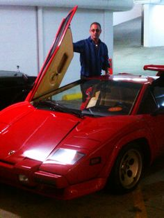 In my mother's garage, Sunset Plaza Drive, West Hollywood California, February 2013, with our 1984 Lamborghini Countach 5000 S
