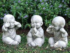 Wise Monks Set - Large Buddha Garden Statue - Garden Ornaments by Onefold Small Garden Ornament, Garden Ornaments, Garden Art, Garden Design, Garden Ideas, Patio Ideas, House Design, Little Buddha, Buddha Art