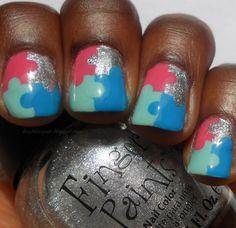 Puzzle Pieces nails love em!