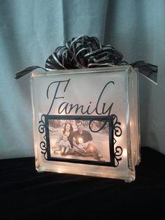 Decorative Glass Block Night Light with Photo Frame. $29.00, via Etsy.