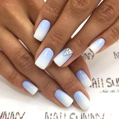 If you start thinking about what kind of nail design you want this year, why not consider neon nail art designs? It's a trend we can't get rid of because they look cool. The advantage of neon nails is that you can mix different designs together. Blue And White Nails, Blue Ombre Nails, Umbre Nails, White Ombre, Ombre Color, Neon Nail Designs, Nail Polish Designs, Nails Design, Neon Nail Art