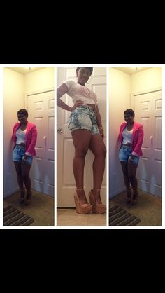 Ottn:  Blazer: JC Penney           Shorts: thrifted cut and bleached by me            Tshirts: JC Penney           Wedges: JustFab