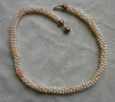 collana 5 fili perle naturali 3 mm bianche e rosa lungh cm 46 - tessita tubogas