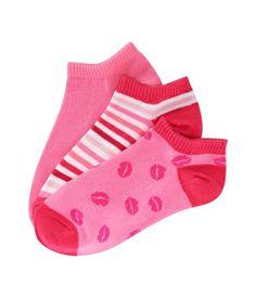 3-Pack of Kiss, Solid & Stripe Ped Socks