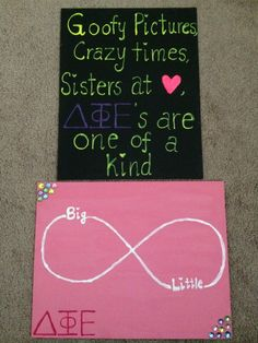Delta Phi Epsilon canvas #DIY ideas for your little. Make your little special handmade gifts like these canvases. #DPhiE