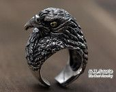 Silver Eagle Ring, Viking Eagle Ring, Silver Hawk Ring, Unique Handmade Silver Jewelry, Men's Jewelry, Gift for Him