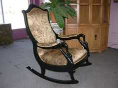 refinished early 1900s gooseneck rocker Metal Rocking Chair, Upholstered Rocking Chairs, Furniture Makeover, Furniture Ideas, Antique Chairs, Vintage Antiques, My House, Upholstery, Sweet Home
