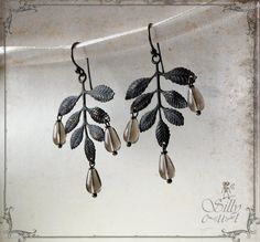 earrings Autumn Leaves gothic victorian gloomy rain by sillycut