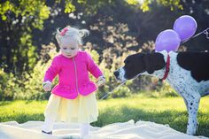 Portrait photoshoot / photography / bright colors / pink / balloons / purple / autumn / blond hair / blue eyes / dog / sunny / girl / pink bow