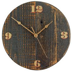 Handmade Wooden Clocks | ... browse more items in clocks black red gold salvaged wooden wall clock