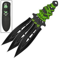 Featuring an aerodynamic spear point design and perfectly balanced for extreme accuracy when penetrating your target, this 3 piece throwing knife set is a must have. #airbornebiohazardthrowingknifeset