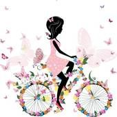 Clipart of Silhouette of beautiful girl on bicycle k12904554 - Search Clip Art, Illustration Murals, Drawings and Vector EPS Graphics Images - k12904554.eps