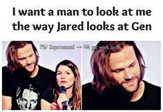 So true. Jensen always looks like that at his wife too. So sweet