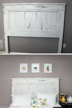DIY Build this Farmhouse Style Headboard for around 100 It will be the center of your bedroom makeover Furniture Projects, Furniture Makeover, Diy Furniture, Diy Projects, Furniture Stores, Furniture Online, Furniture Outlet, Discount Furniture, Simple Furniture