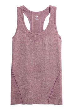Bezszwowa koszulka treningowa - Jasnofioletowy melanż - ONA   H&M PL 1