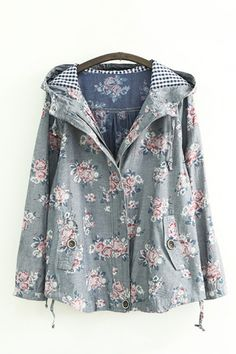 Floral Print Grey Long Sleeves Hoodie Coat Outerwear