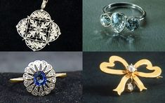 Items of jewellery recovered from the Titanic (clockwise from top left): a platinum and diamond necklace; a ring with three diamonds; a ribbon and diamond brooch; and diamond and sapphire ring. They are among 15 items including pendants, rings and a pocket watch salvaged from the wreck of the Titanic going on display later this week in Atlanta.  Picture: REUTERS/RMS Titanic Inc