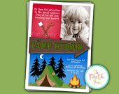 Camping Camp Out Photo Invitation Birthday Party Custom Printable Digital File Fourth Third 4th 3rd Tent Bonfire Fall. $18.00, via Etsy.