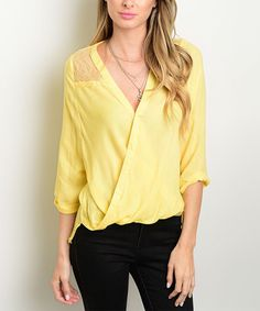 Loving this Yellow Surplice Hi-Low Top on #zulily! #zulilyfinds