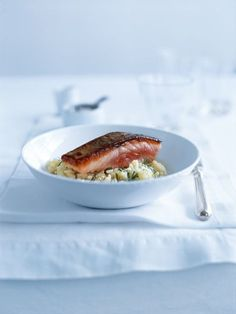 salmon with fennel and lemon risotto from donna hay