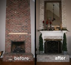 Great tutorial on white washing a brick fireplace. Great option if ...