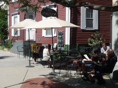 Outside at Cafe Pamplona in Harvard Square