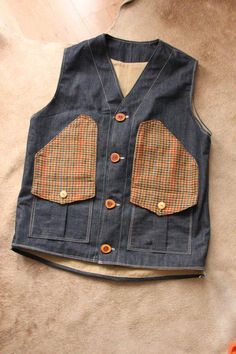 Waistcoat/change the dogtooth to cord,maybe nicer~~ Fashion Fabric, Denim Fashion, Men's Waistcoat, Japanese Denim, Tailored Shirts, Men's Coats And Jackets, Denim Outfit, Blazers For Men, Work Wear
