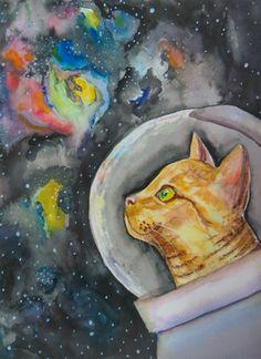 Space Cat Watercolor Print  Astronaut Cat by CuriositycreatedKat