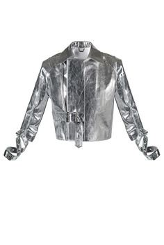 It's your time to shine! Try this silver leather jacket if you are looking to score some rebellious runway aesthetics! The cropped fit of this lustrous silver-tone leather piece works perfectly over tailored trousers or high-waisted silhouettes, while the cropped arms with wraparound belts will be the charm of your outfit.