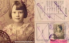 Audrey Hepburn's photo on her first passport, issued in 1936. British by virtue of her father's nationality.