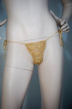 Gold yellow sparkling glitter elastic g-string crochet cotton lace wedding lingerie bikini sexy thong by Racoona on Etsy